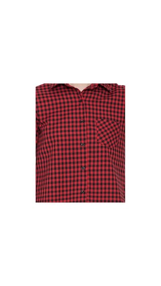 Casual Shirts Shirt Women Hive91 Red Cotton Check for YnwTSg