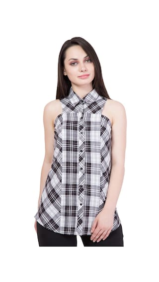 Hive91 White and Black Check Shirt for Women in Cotton Fabric