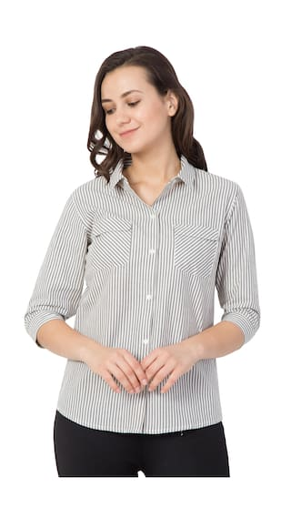 Stripe Shirt Casual Shirts White for Hive91 Women;Cotton 1xzAqWH