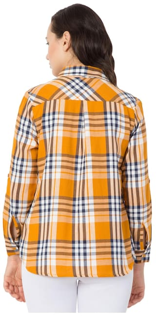 Casual Check Shirts Hive91 Yellow for Shirt Women;Cotton qSXx7wFT