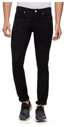 HJ HASASI Men Black Regular Fit Jeans