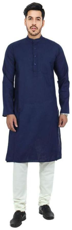 HK Nimay Kurta Pyjama Cotton Solid Blue