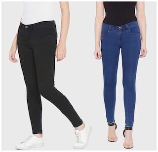 HMFURRYS FINEST Women Black & Blue Slim fit Jeans
