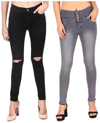 HMFURRYS FINEST Women Black & Grey Slim fit Jeans
