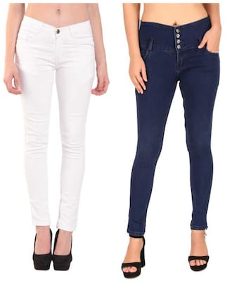 HMFURRYS FINEST Denim Solid White & Navy Blue Color Jeans For Women (Pack Of 2)