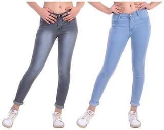 HMFURRYS FINEST Women Grey & Blue Straight fit Jeans