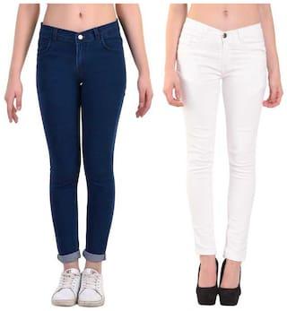 HMFURRYS FINEST Women Blue & White Straight fit Jeans