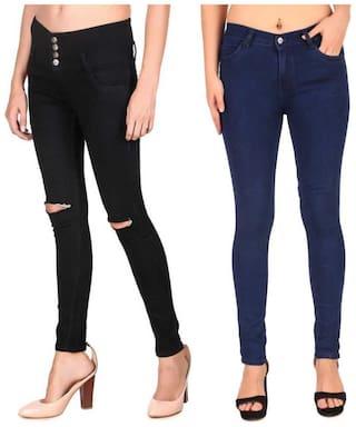 HMFURRYS FINEST Denim Solid Black & Navy Blue Color Jeans For Women (Pack Of 2)