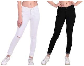 HMFURRYS FINEST Women White & Black Straight fit Jeans