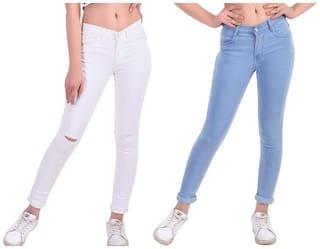 HMFURRYS FINEST Women White & Blue Straight fit Jeans