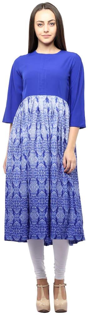 Homa Women Crepe Printed A line Kurta - Blue