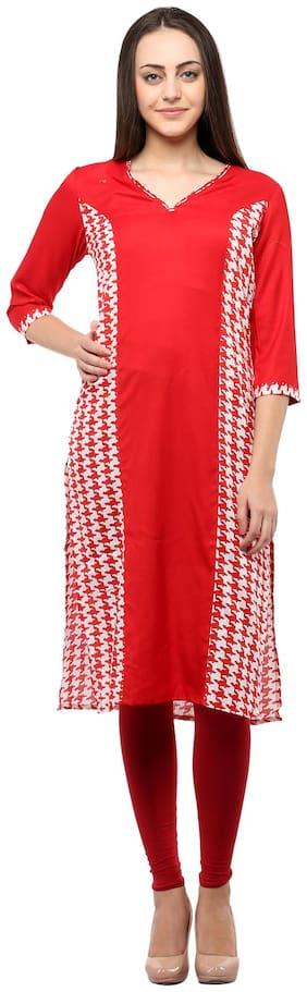 Homa Women Rayon Printed Straight Kurta - Red