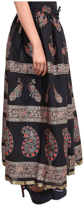 Home Shop Gift Black Gold Printed Long Skirt