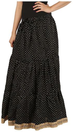 Home Shop Gift Black Polka Dots Gold Printed Long Skirt For Women FreeSize