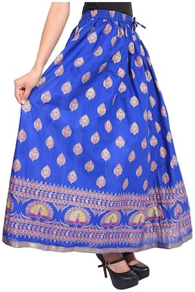 Home Shop Gift Blue Gold Printed Long Skirt