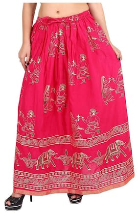 Home Shop Gift pink Gold Printed Long Skirt