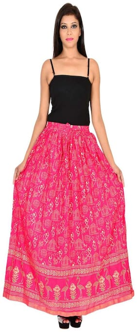 Home shop gift pink gold print long skirt