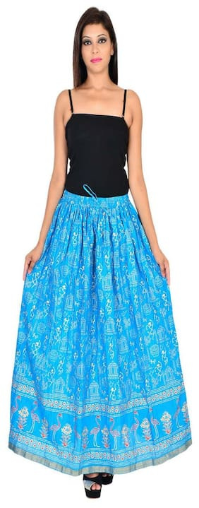 Home shop gift sky blue gold print long skirt