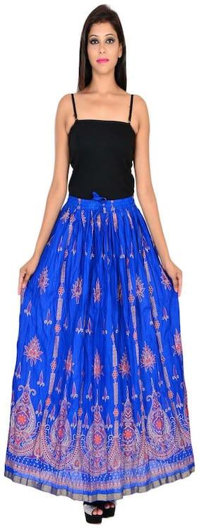 Home shop gift blue gold print long skirt