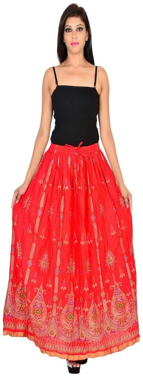 Home shop gift red gold print long skirt
