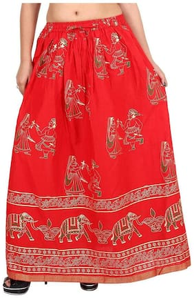Home Shop Gift Red Gold Printed Long Skirt
