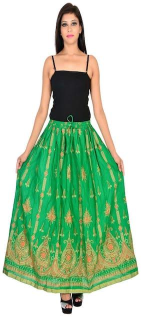 Home shop gift green gold print long skirt