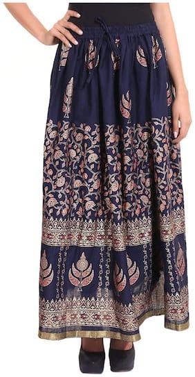 Home Shop Gift Navi Blue Gold Printed Long Skirt