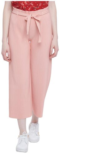 Honey By Pantaloons Women Flared Fit Mid Rise Solid Pants - Pink