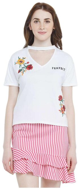 Honey By Pantaloons Embroidered White T Shirt