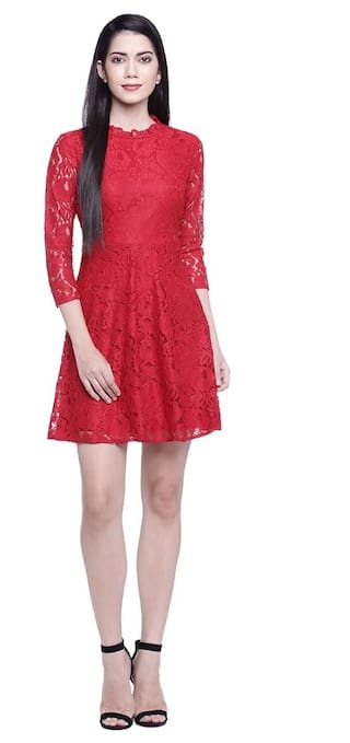 Honey by Pantaloons Women Regular Fit Polyester Dress_Red_S