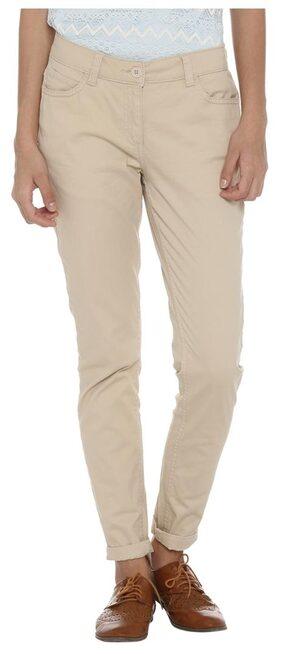 Honey by Pantaloons Women Slim Fit Cotton Trousers_Beige_32