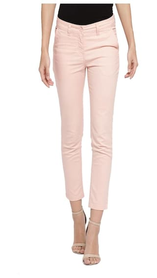 Pantaloons Fit Pant Pink Women Cotton 34 Honey Slim by 4q7ZRw5T5