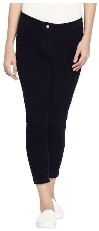 Honey By Pantaloons Women Slim Fit Mid Rise Solid Pants - Black