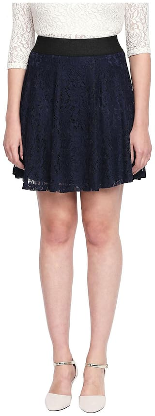 Honey By Pantaloons Solid Flared skirt Mini Skirt - Blue
