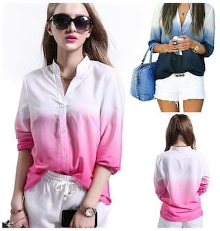 d67aca24 Hot Sale Womens Chiffon Tops Long Sleeve Button Down Shirt Casual Blouse