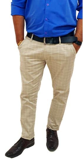 Hot Threads Men Checked Regular Fit Formal Trouser - Cream