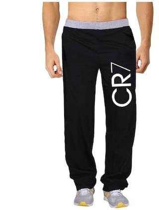 HOTFITS Men Cotton Blend Track Pants - Black