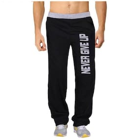 HOTFITS Men Cotton Blend Track Pants - Black