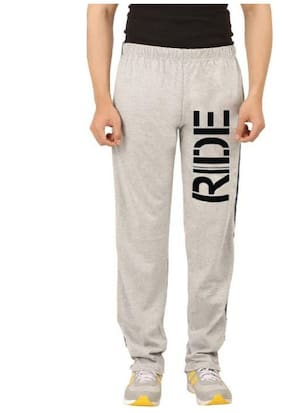 HOTFITS Men Cotton Blend Track Pants - Grey