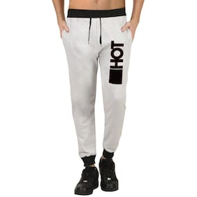HOTFITS Men Cotton Track Pants - Grey
