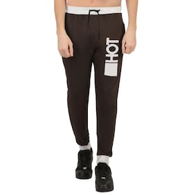 HOTFITS Men Cotton Track Pants - Black