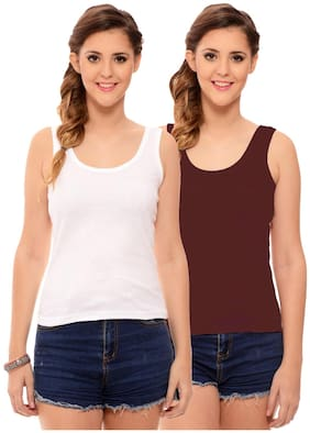 Hothy Womens's White & Maroon Camisole (Pack of 2)