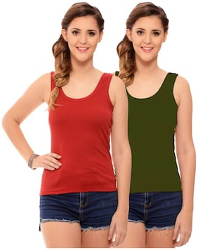 Hothy Womens's Red & Olive Camisole (Pack of 2)