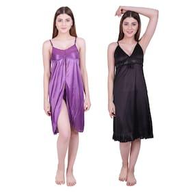 Hovac Women Satin Solid Babydoll Nighty- Pack Of 2 (Purple;Black)