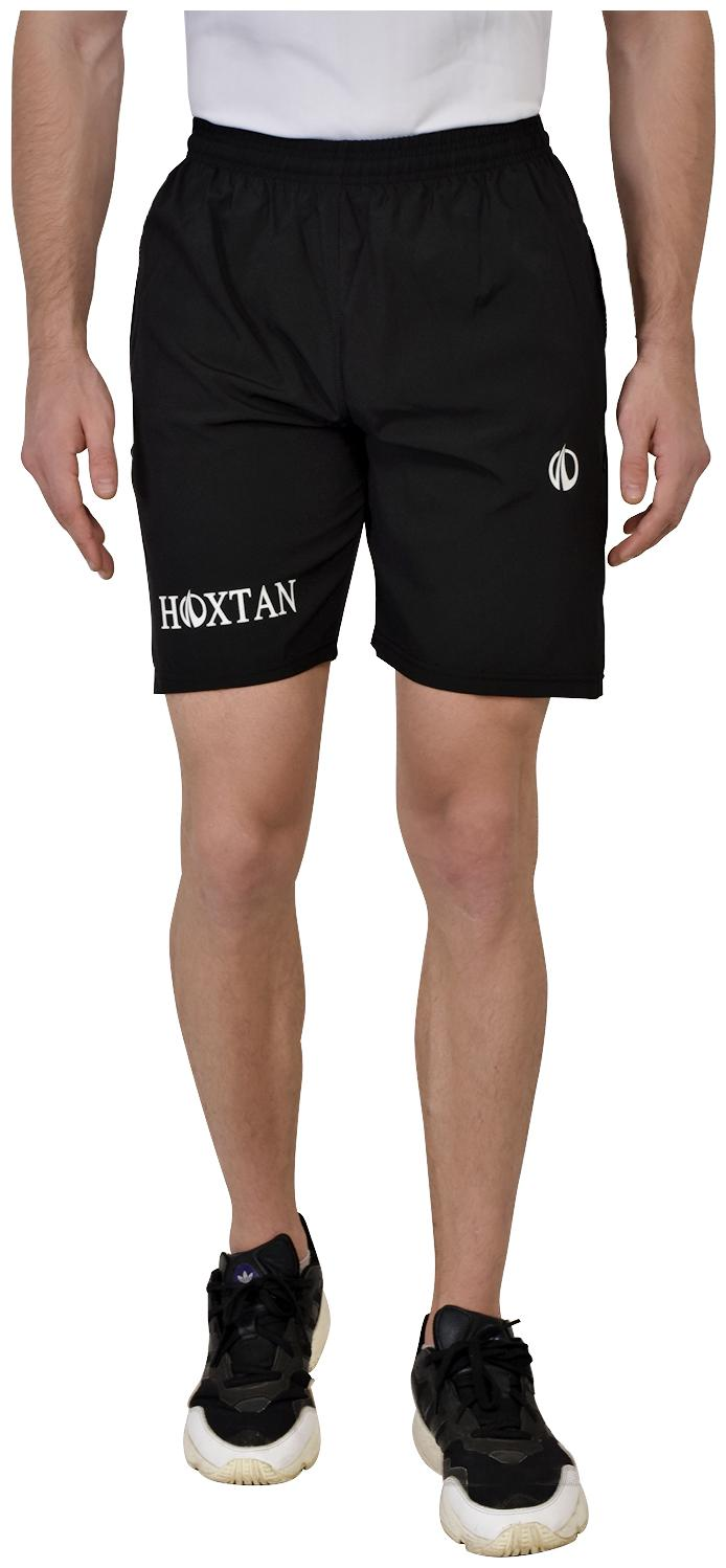 Hoxtan Black Regular Fit Polyester Fabric Shorts with Two Side Zipper Pockets;Gym;Running...