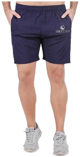 HOXTAN Navy Blue Dry Fit Polyester Fabric Sporty Active Shorts for Men (Navy Blue)