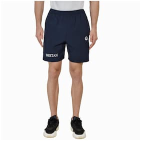 Hoxtan Navy Blue Regular Fit Polyester Fabric Shorts with Two Side Zipper Pockets;Gym;Running Wear for Men