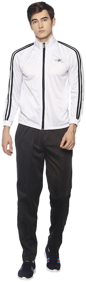 HPS Sports Men White & Black Solid Regular Fit Track Suit