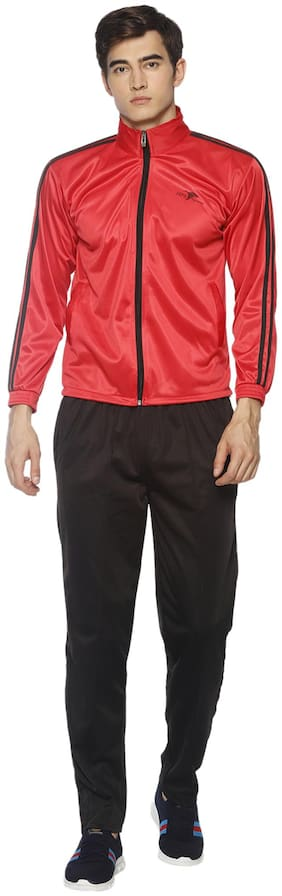 HPS Sports Men Red & Black Solid Regular Fit Track Suit