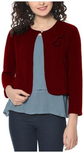 HRIKSHIKA FASHION Women Solid Regular fit Blazer - Maroon